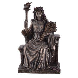 Griechische Göttin Demeter sitzt auf Thron mit einer Fackel 23cm – Bild 1