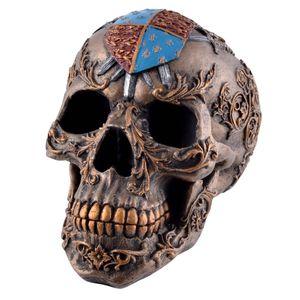 Totenkopf mit Schwertern und Mittelalter Wappen Englands verziert 17cm – Bild 1