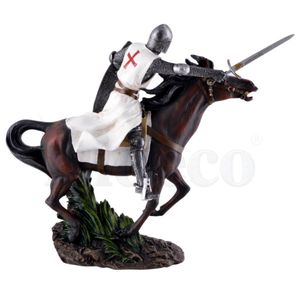 Templer Ritter auf Pferd im Galopp mit weißen Umhang und Schwert 27cm – Bild 3