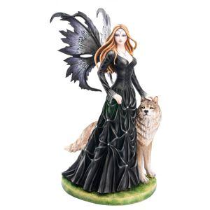 Dark Fairy Luprara mit Wolf in schwarzen Kleid mit Strasssteinen 59cm