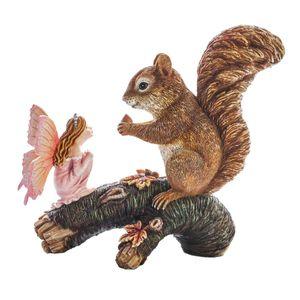 Waldfee Animalia spricht mit Eichhörnchen auf einem Ast 17cm