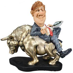 Funny Life - Börsenmakler liegt auf goldenen Bullen Bullenmarkt 15cm – Bild 1
