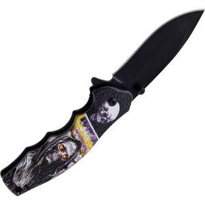 Klappmesser Grim Reaper Tod 3D Druck mit schwarzer Stahlklinge 20cm