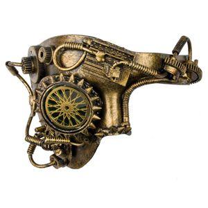 Steampunk Maske Halbmaske Golden Wheel 18cm