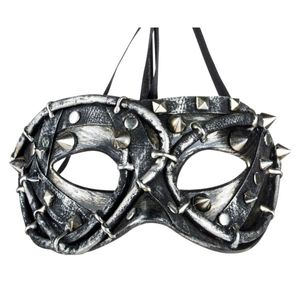 Steampunk Maske mit Nieten und Dornen Tekno Rose 18cm