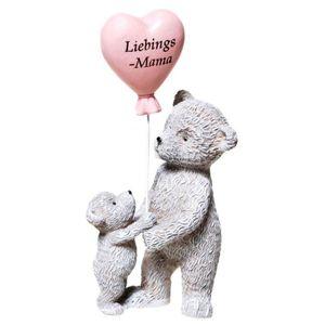 Bär mit Kind und Herz-Ballon - Lieblings-Mama 10cm Muttertag