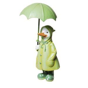 Ente im Regenmantel steht mit Regenschirm 18cm