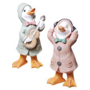 2er Set Regen Enten mit Gitarre und Kopfhörer 25cm