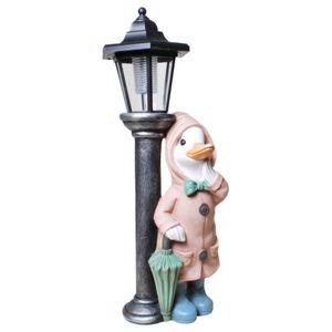 Regen Ente steht an einer Laterne mit Solar-Licht 41,5cm