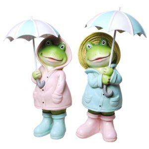 2er Set Regen Frösche mit geöffneten Regenschirmen 20cm
