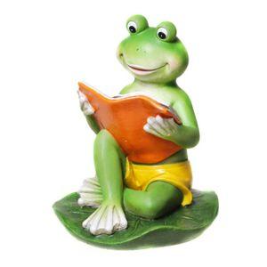 Frosch in Badehose liest sitzend ein Buch 15,5cm