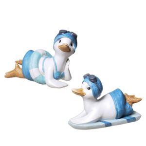 2er Set Bade Enten liegend auf Schwimmreifen und Surfbrett 17,5cm