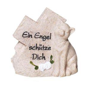 Grabschmuck Figur Kreuz mit Katze - Ein Engel schütze Dich 11cm – Bild 1