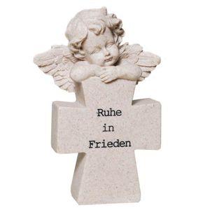 Grabschmuck Figur Engel mit Kreuz - Ruhe in Frieden 17cm