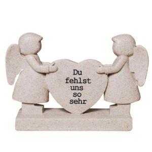 Grabschmuck Figur Engelpaar mit Herz - Du fehlst uns so sehr 18cm