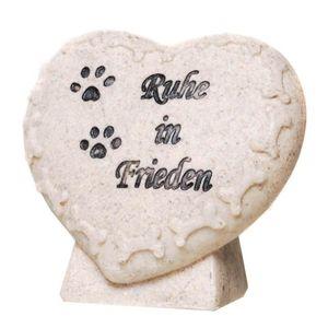 Grabschmuck Figur Herz mit Hunde Pfoten - Ruhe in Frieden 7,5cm – Bild 1