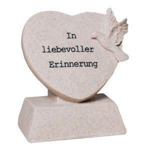 Grabschmuck Figur Herz mit Taube - In liebevoller Erinnerung 13,5cm