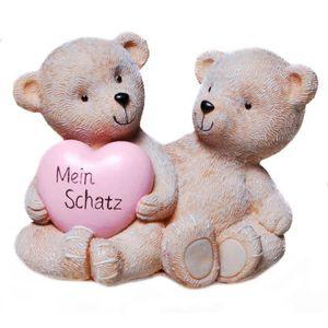 Spardose kleines Bärchenpaar mit Herz - Mein Schatz - mit Pfropfen 13cm