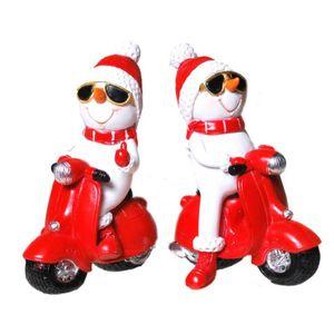 2er Set Schneemänner auf roten Motorrollern 10cm Weihnachten – Bild 1
