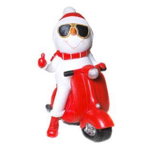 Spardose Schneemann auf roten Motorroller 19cm Weihnachten – Bild 1