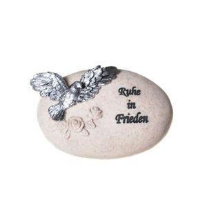 Stein mit Taube - Ruhe in Frieden 11cm