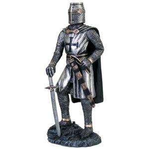 Kreuzritter in silberner Rüstung mit Schwert 18cm