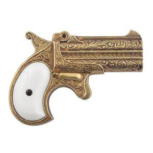 Goldfarbene amerikanische Deko Doppellauf Pistole Deringer USA 1866