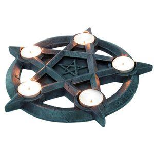 Teelichthalter Pentagram mit 5 Kerzen 27cm