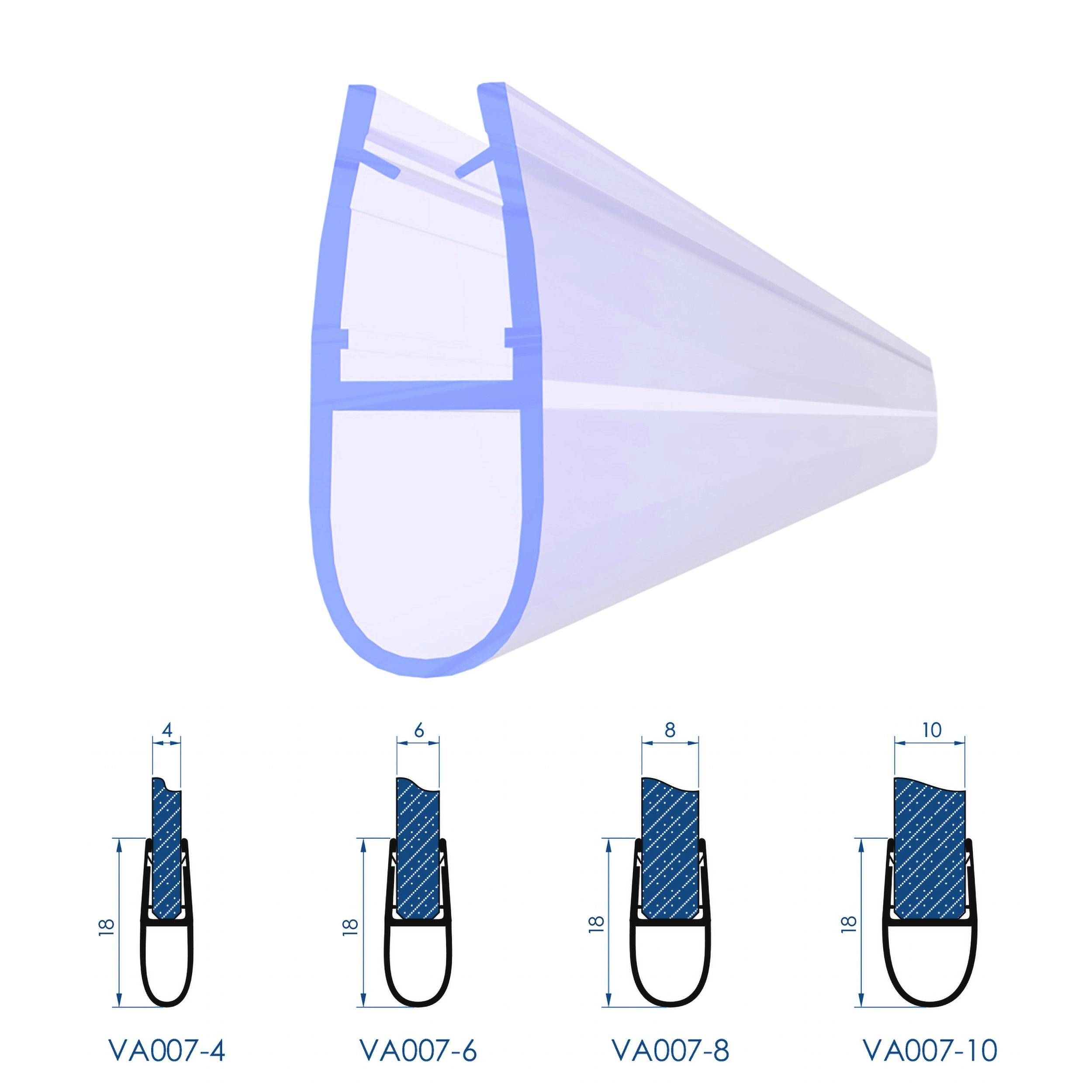 8 10 mm L/änge: 40 bis 200 cm Glasst/ärke:4 mm 6 VON ADELBERG Duschdichtung Wasserabweiser Gerade PVC Ersatzdichtung f/ür Dusche Typ: VA006-15 2 St/ück Dichtung L/änge:40 cm Glasst/ärke: 4
