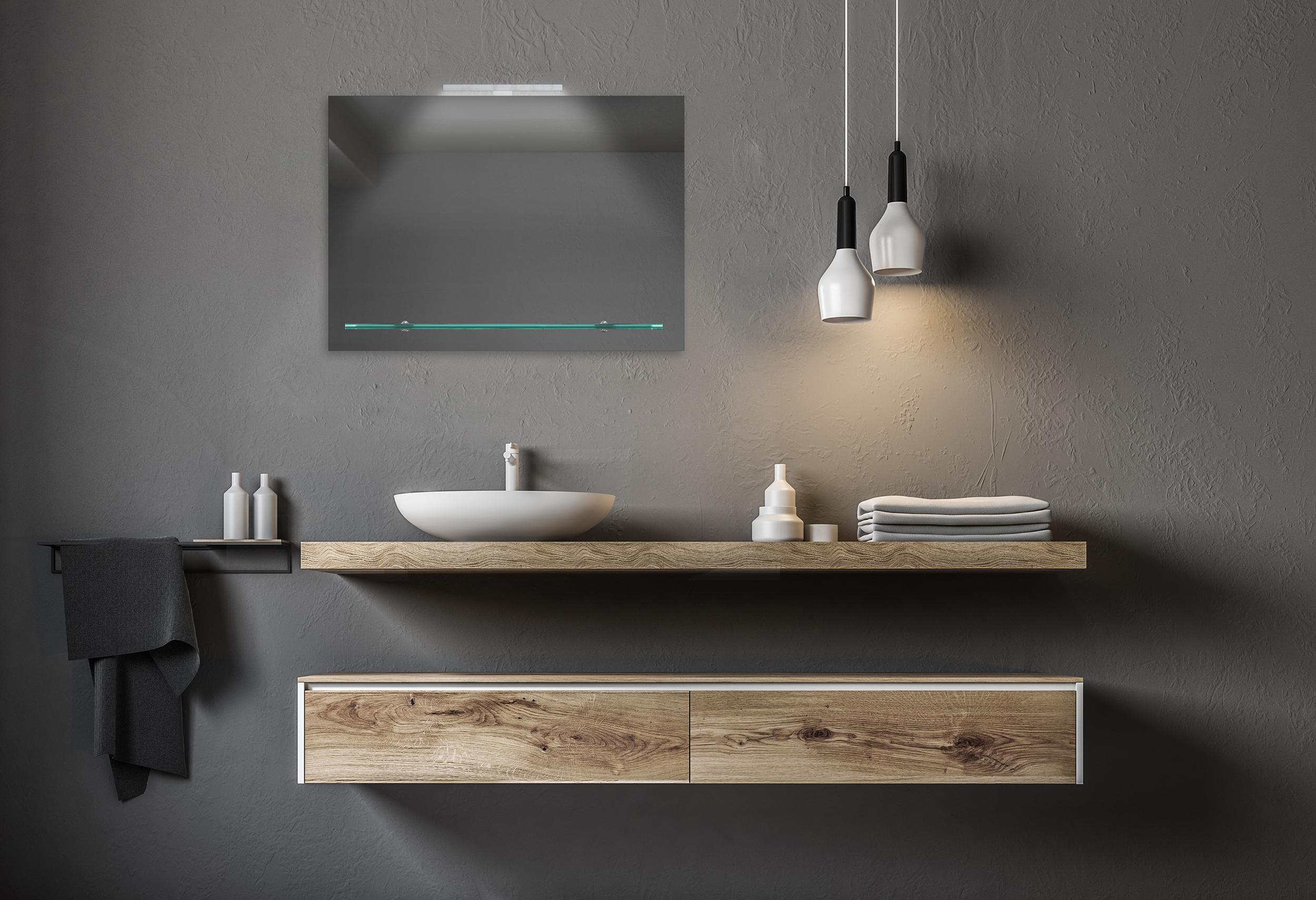 wandspiegel badezimmer badspiegel spiegel mit glasablage. Black Bedroom Furniture Sets. Home Design Ideas