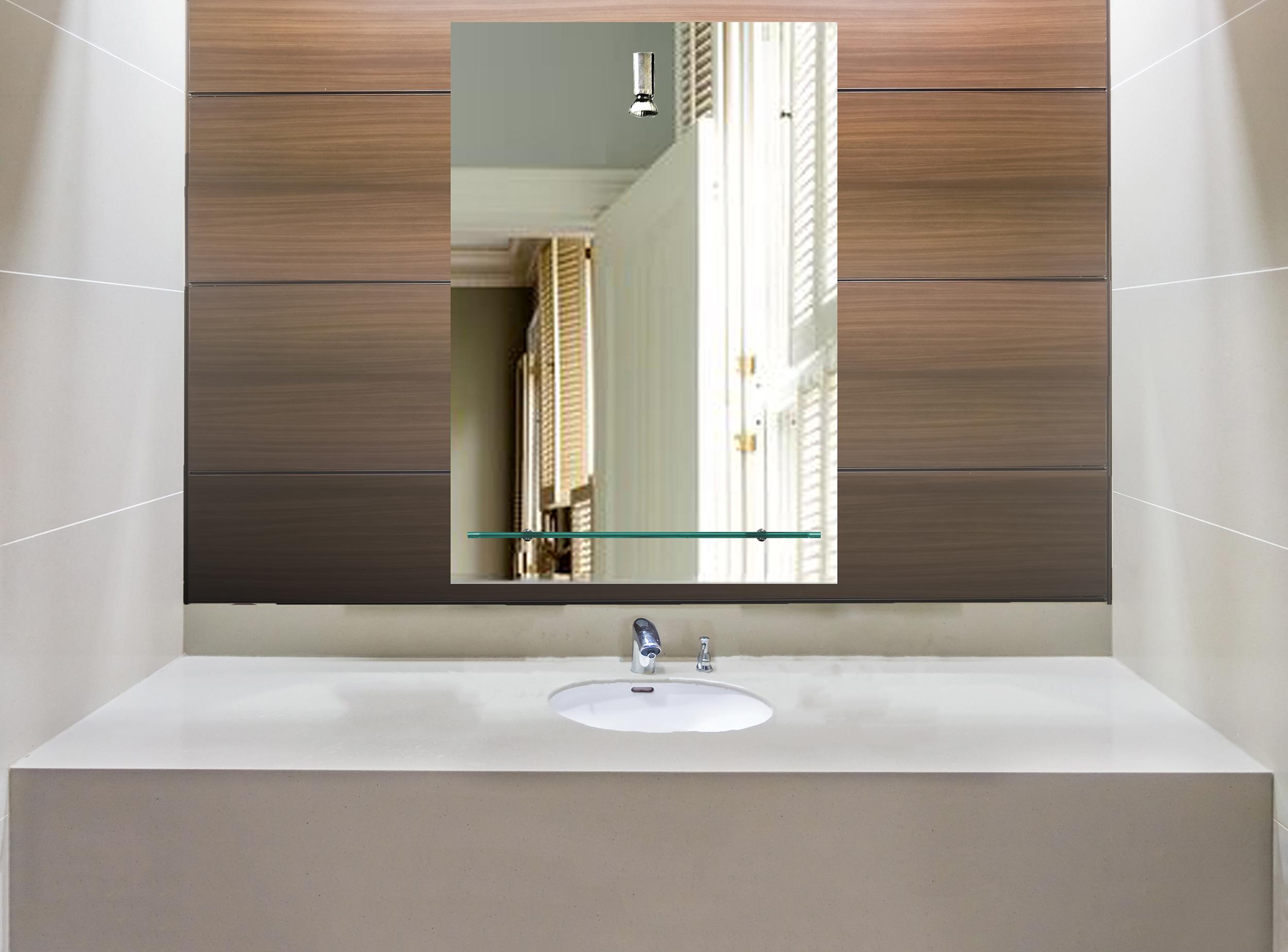 badspiegel spiegel mit ablage und beleuchtung g ste wc led. Black Bedroom Furniture Sets. Home Design Ideas