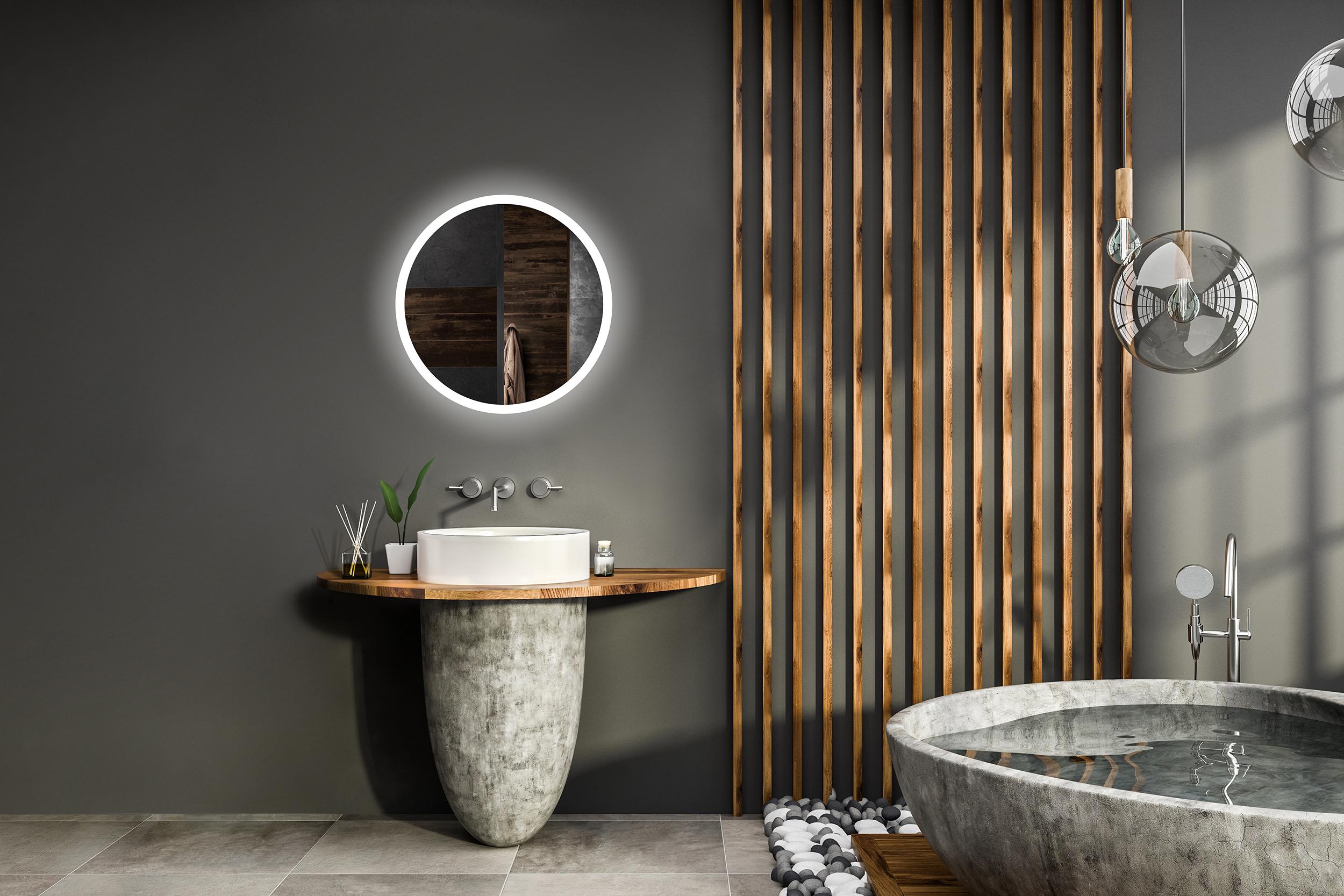 [Bundle] Badspiegel mit LED Beleuchtung LED Spiegel Wandspiegel  Lichtspiegel Badezimmerspiegel Gäste WC 50 x 70 cm / 60 x 80 cm