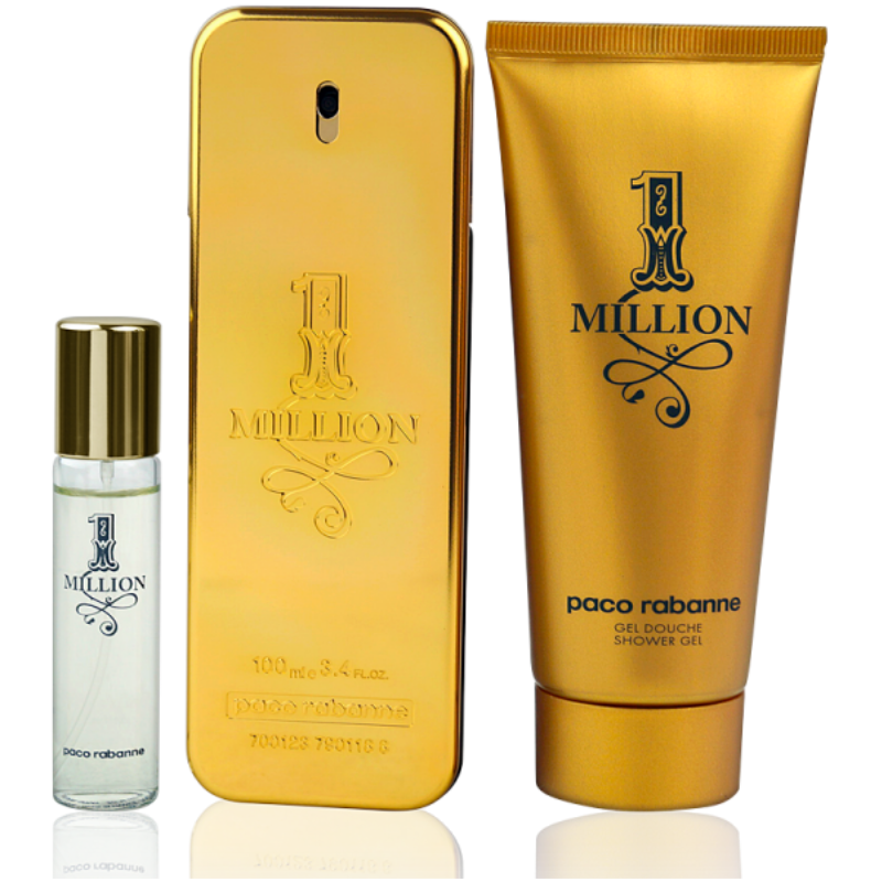 Paco Rabanne One Million Eau de Toilette 100ml + Shower Gel 100ml + EdT Mini 10ml - Parfüm für Dich