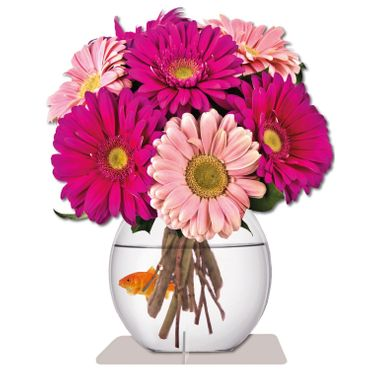 "Immerschön - Pink Gerbera / Pattern - Schmetterling ""Happy Birthday"" – Bild 2"