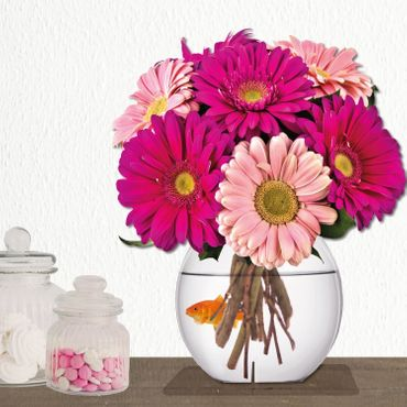 "Immerschön - Pink Gerbera / Pattern - Schmetterling ""Happy Birthday"" – Bild 3"