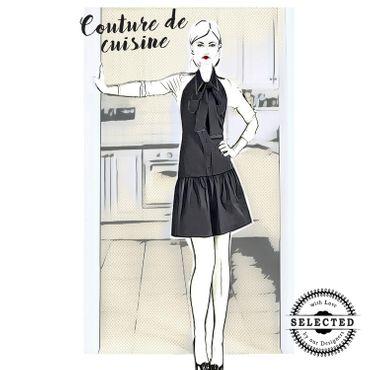 """Couture-Küchenschürze - Design """"New York"""" - schwarz – Bild 1"""