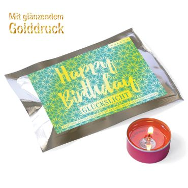 Fortunas Glückslicht / Gold Edition / Happy / Birthday / 6er Pack – Bild 1
