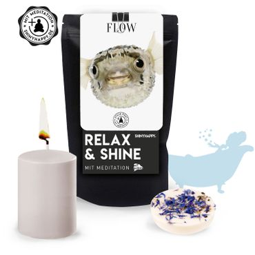 "Relax & Shine - SET  ""Flow"" / Kerze & Badetaler & Meditation – Bild 1"