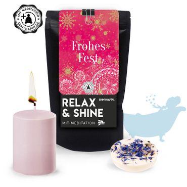 "Relax & Shine - SET ""Frohes Fest""/ Kerze & Badetaler & Meditation – Bild 1"