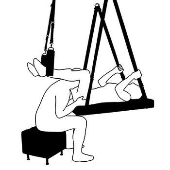 Liebesschaukel Slingbett Luanna weiß Sitzhocker Hocker – Bild 2