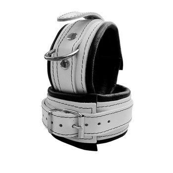 Leder Fußfessel in Weiss 5cm breit