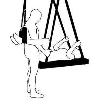 Slingbett Elea schwarz Set:  Liebesschaukel inkl.  Beinschlaufen & Kopfkissen – Bild 5
