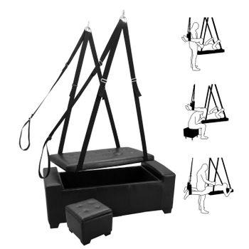Liebesschaukel Slingbett Luanna schwarz 3in1 - Slingbett, Sitzbank und Truhe - Set inkl. Beinschlaufen und Hocker – Bild 1