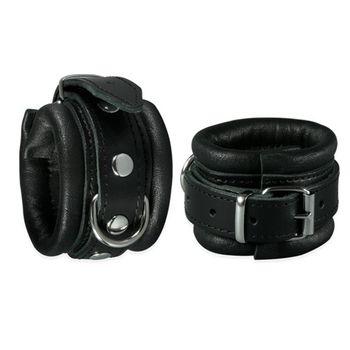 Handfesseln gepolstert aus schwarzem Leder 5cm breit [Sibada]