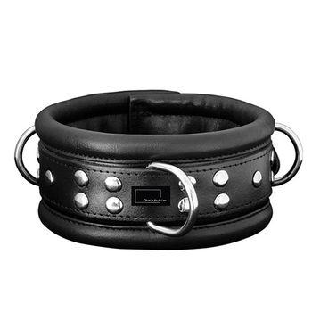 Fesselset Handfesseln Fußfessel und Halsfessel aus schwarzem Leder 6,5 cm breit [Sibada] – Bild 2