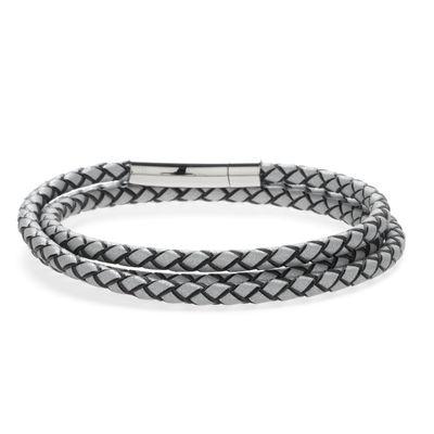 Wickellederarmband grau silver Bild 2