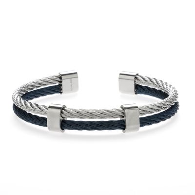 Lederarmband Back to Business silver blue Bild 1