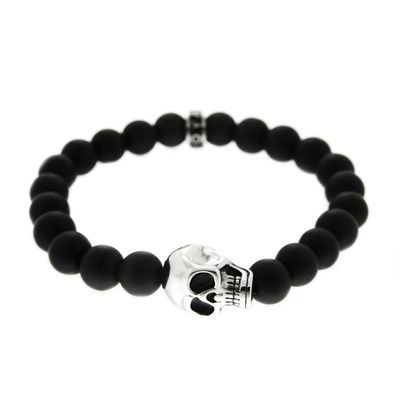 Bead Armband Onyx Skull black