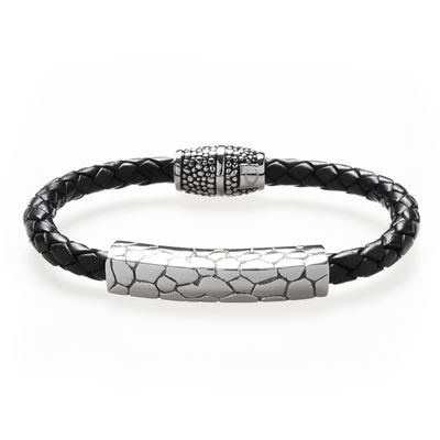 Bracelet Leather Steel black Bild 1