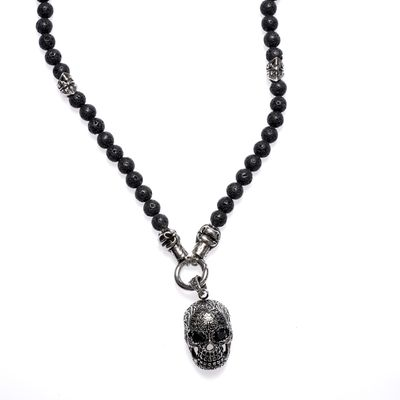 Necklace Lavabead Skull silver black Bild 1